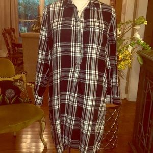 Madewell 1938 plaid button up tunic flannel